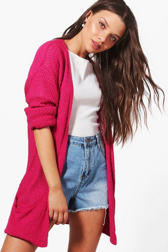 Womens Fuchsia Loose Knit Slouchy Pocket Cardigan