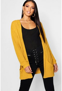 Loose Knit Slouchy Pocket Cardigan, Mustard, Donna