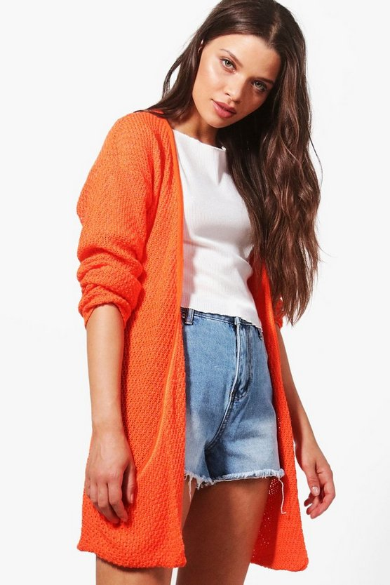 Womens Orange Loose Knit Slouchy Pocket Cardigan