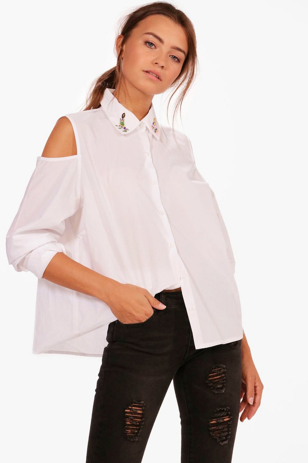 2026e838ec4a Embellished Collar Cold Shoulder Shirt | Boohoo