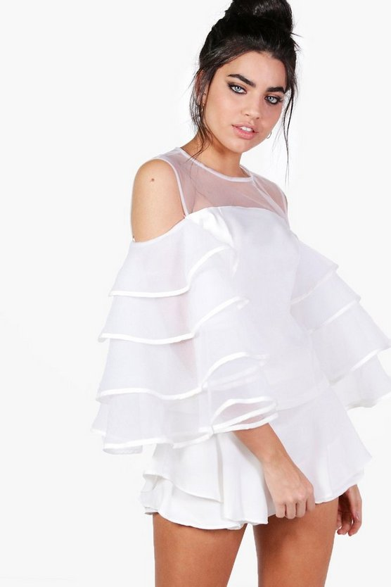 Cold Shoulder Ruffle Mesh Blouse