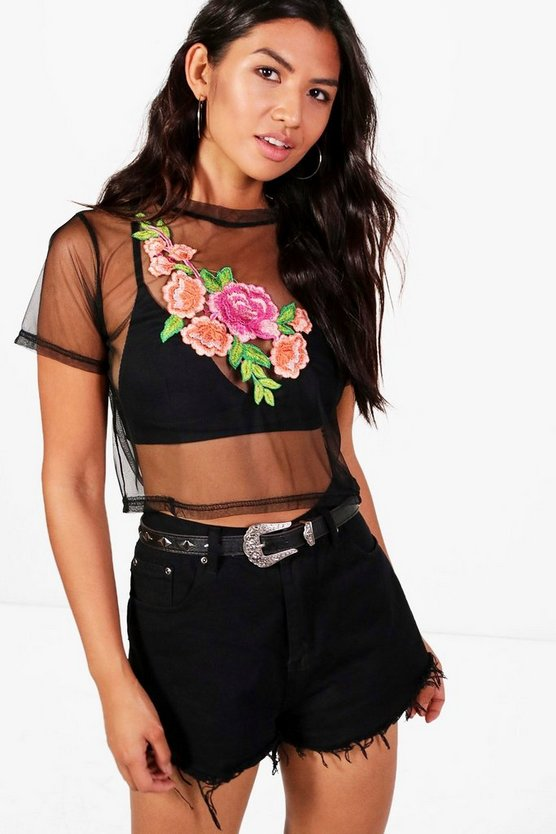April Applique Embroidered Mesh Crop