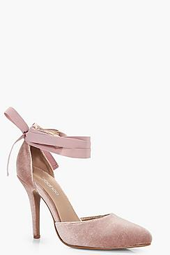 Velvet Ribbon Tie Pointed Court Shoes