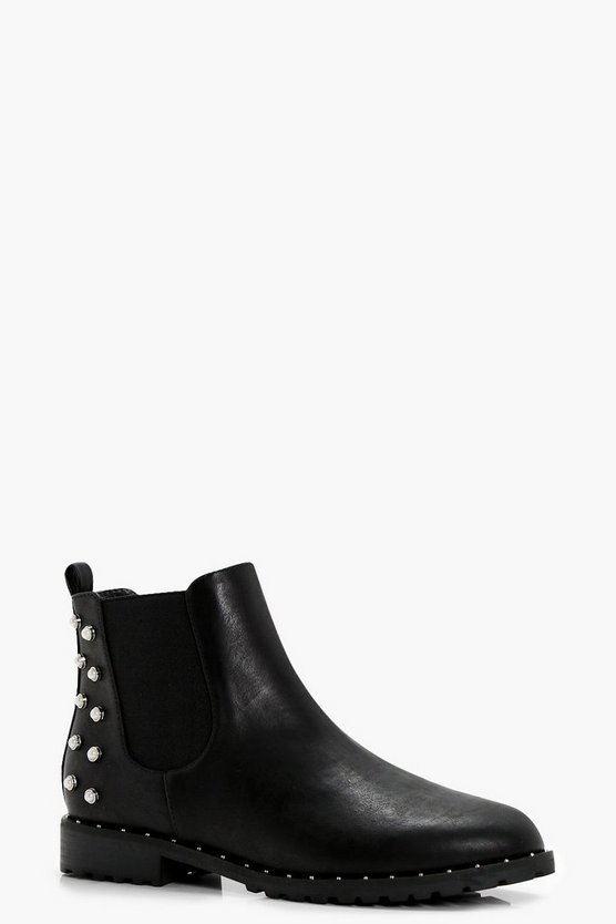 Pearl Stud Chelsea Ankle Boots