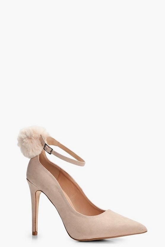 Josie Faux Fur Pom Trim Ankle Court Shoe