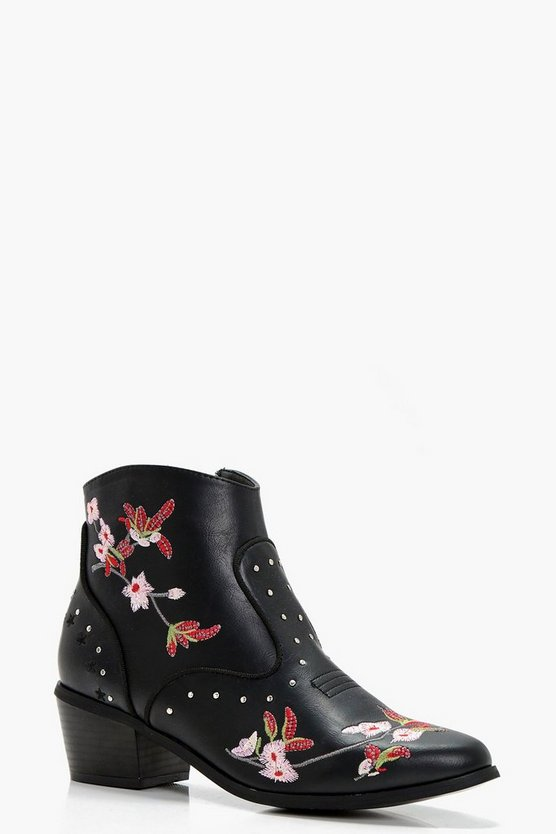Floral Embroidered Ankle Boots