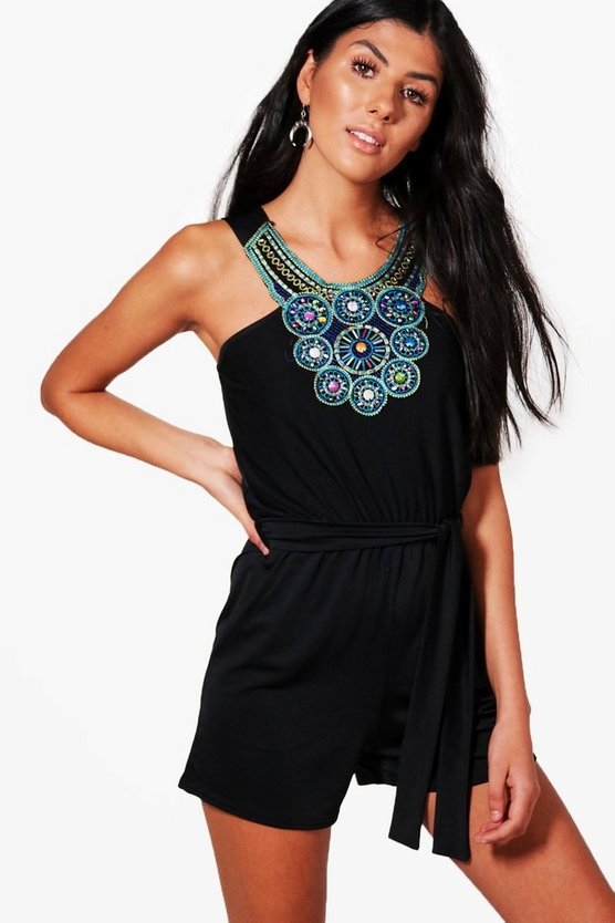 Leyla Beaded Neck Playsuit
