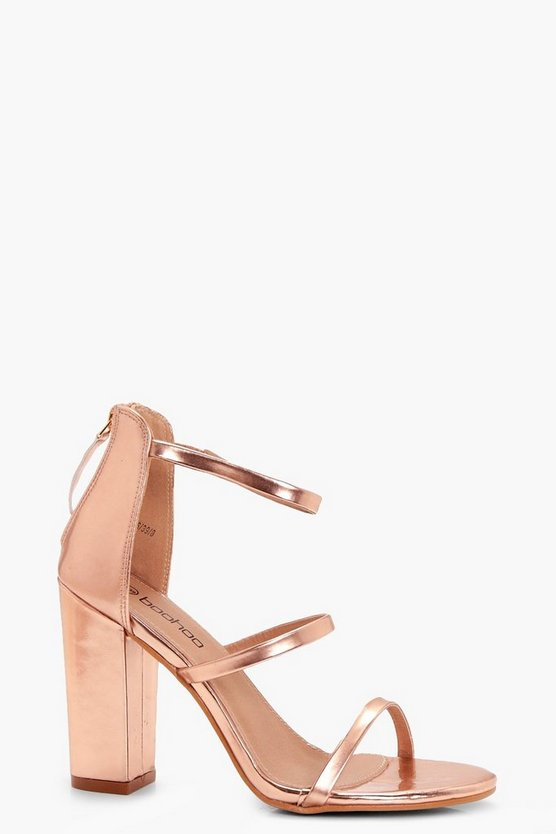 Womens Rose gold 3 Part Block Heels