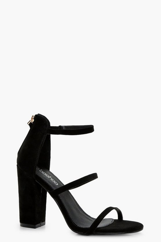 Womens Black 3 Part Block Heels