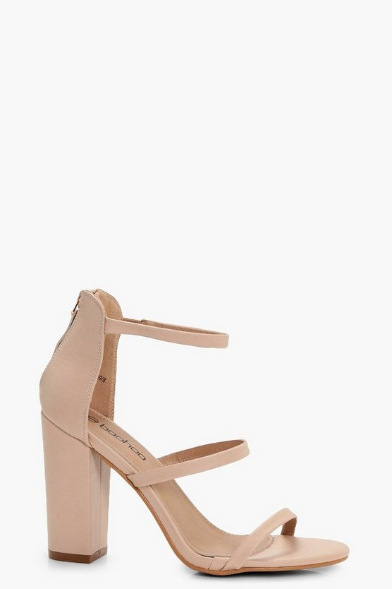 Womens Nude 3 Part Block Heels