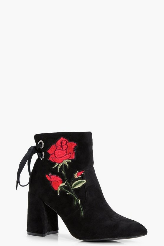 Floral Applique Ankle Boot
