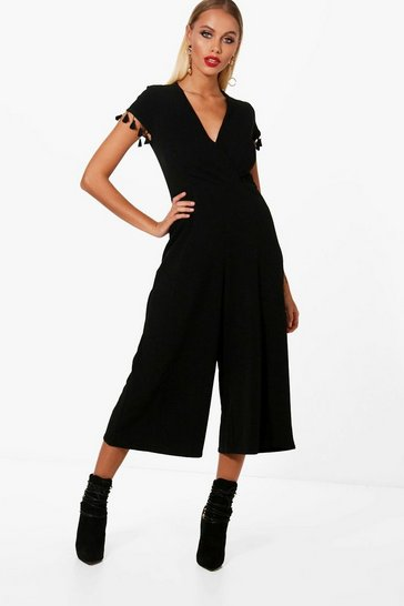 Womens Black Tassel Wrap Around Jumpsuit