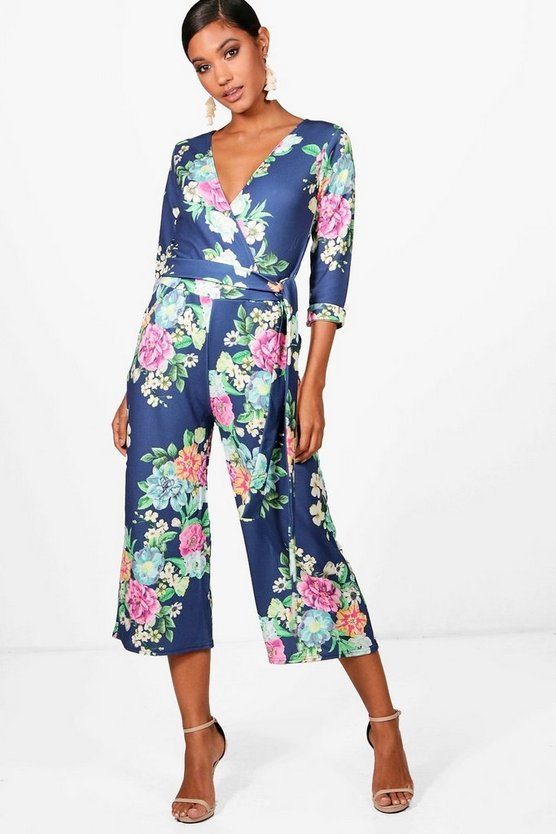 Carolyn Floral Roll Sleeve Culotte Jumpsuit, Морской синий, Женские