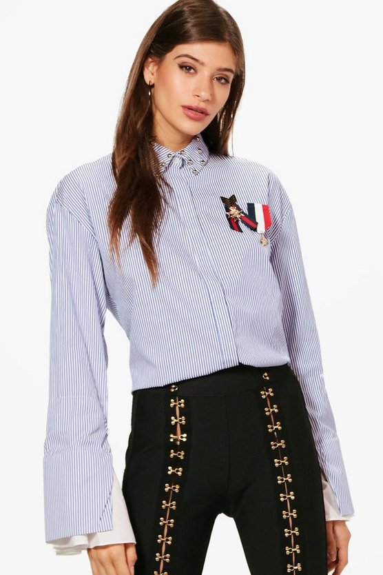 Striped Stud Collar Medal Trim Shirt