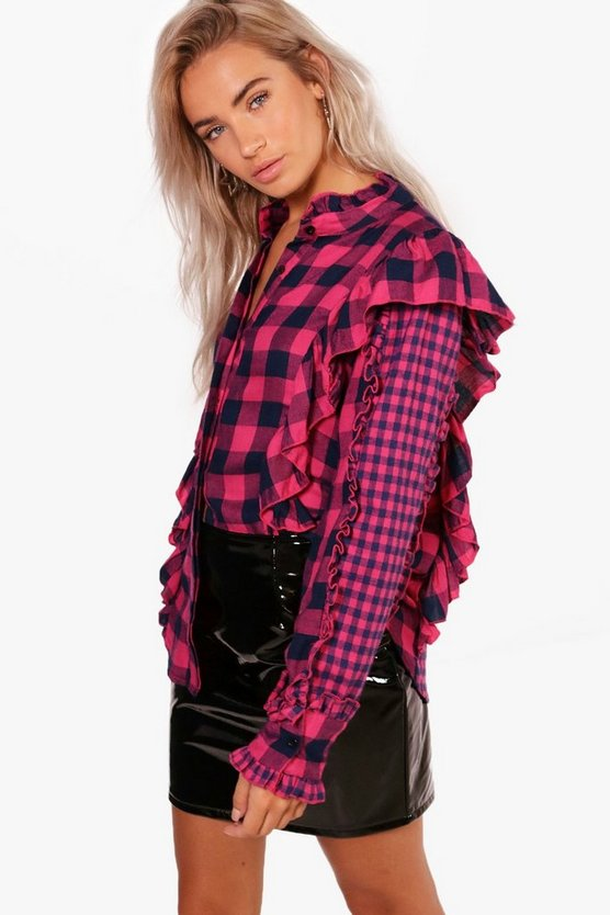 Womens Hot pink Isabel Brushed Check Ruffle High Neck Shirt