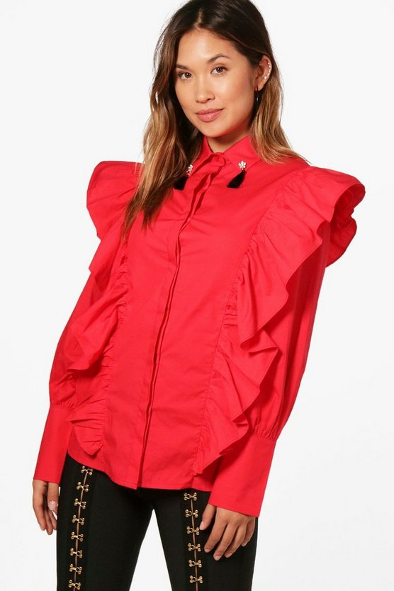 Ruffle Detail Embellished Collar Shirt