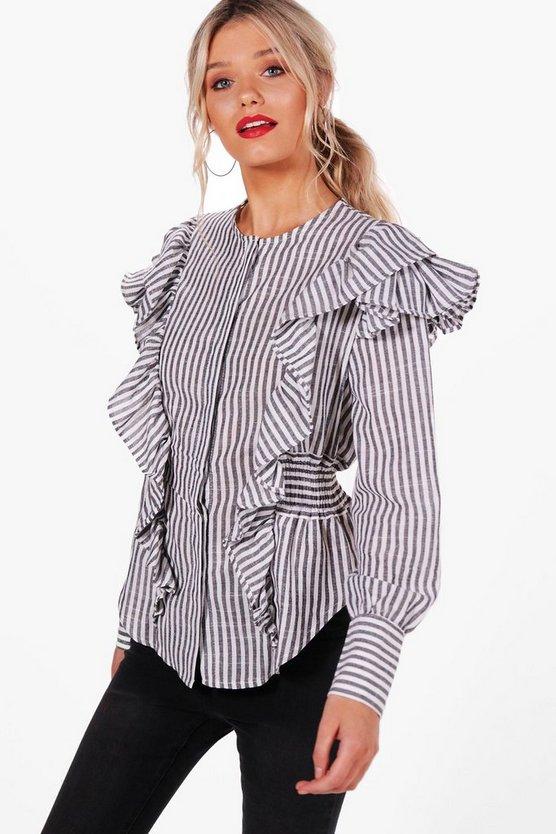 Stripped Ruffle Corset Waist Shirt