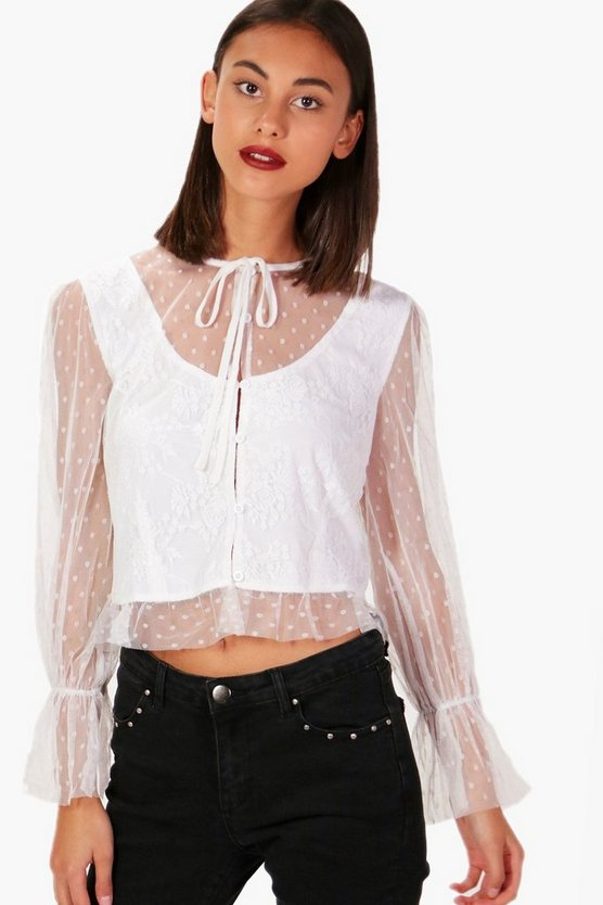 Lace Tie Neck Ruffle Sleeve Top