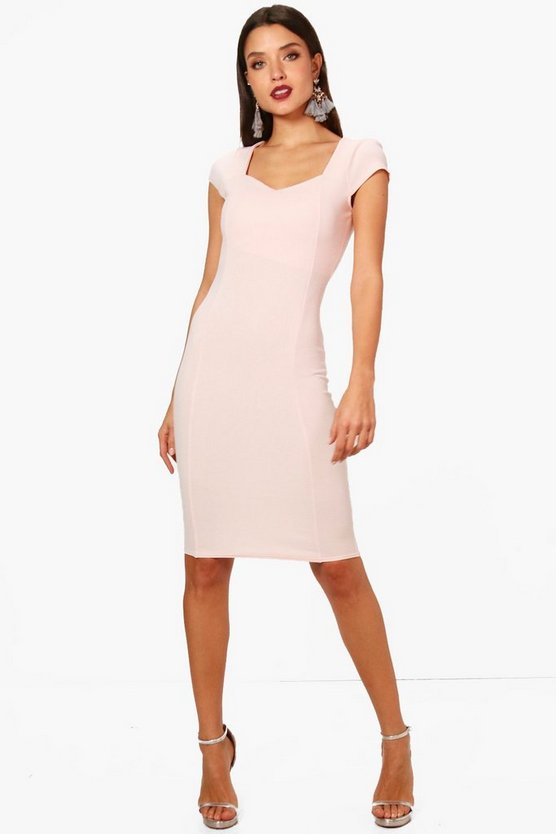 Sweetheart Neck Midi Dress