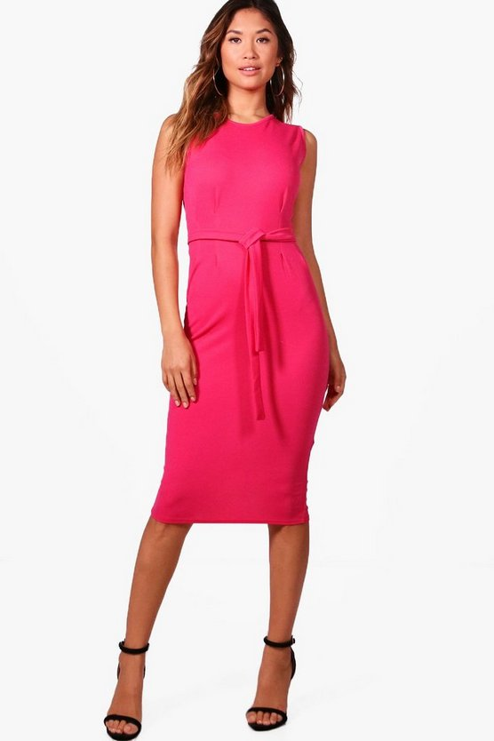 Ella Sleeveless Tie Waist Fitted Dress