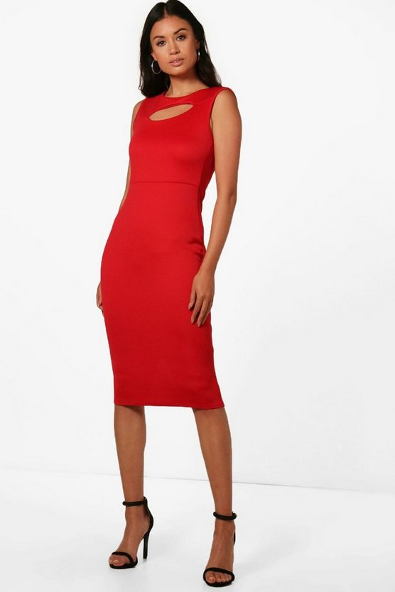 Katie Keyhole Fitted Midi Dress