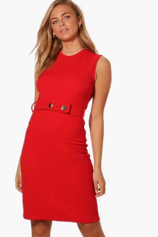 Kerry Belted Fitted Midi Dress