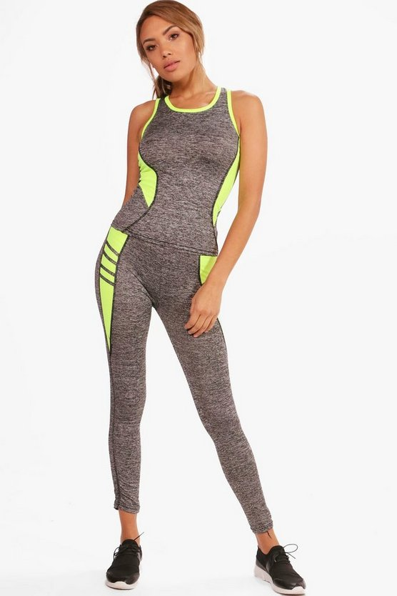 Eliza Fit Contrast Panel Vest & Legging Set