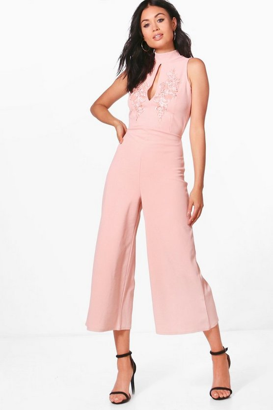 Womens Rose Alyson High Neck Applique Culotte Jumpsuit