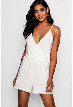Womens Ivory Wrap Over Cami Playsuit