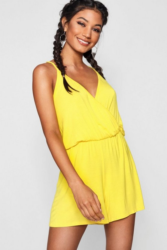 Womens Yellow Wrap Over Cami Playsuit