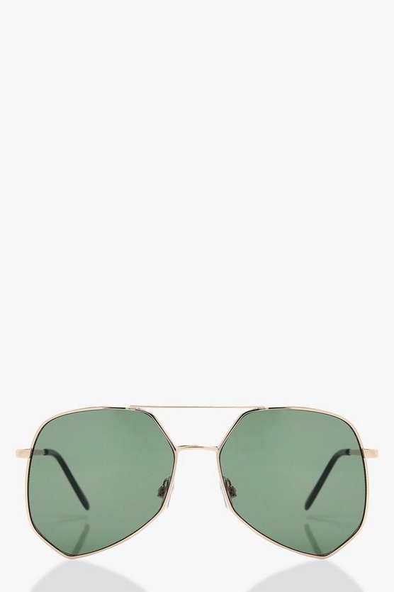 Womens Gold Tilly Angular Aviator Sunglasses