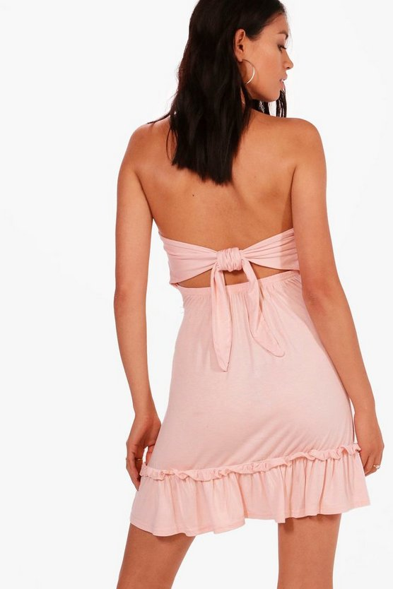 Lily Tie Back Drop Hem Off Shoulder Swing Dress