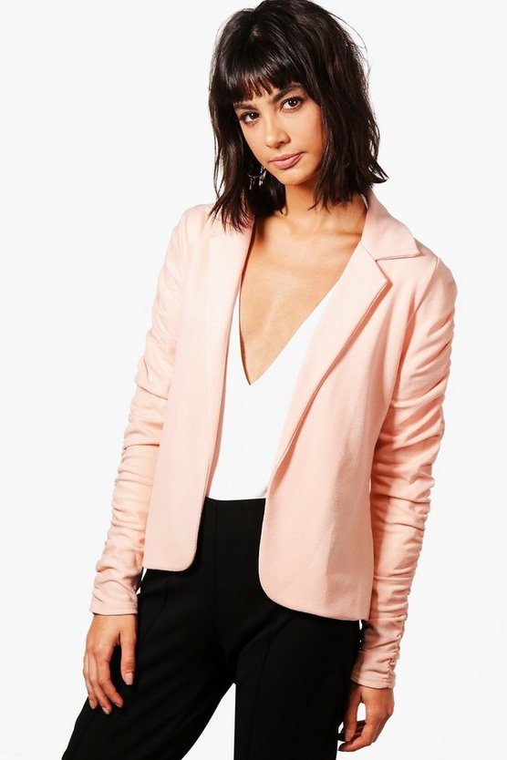 Womens Nude Emily Ruched Sleeve Blazer