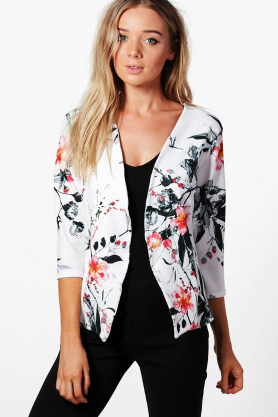 Rubie Printed Collarless Blazer