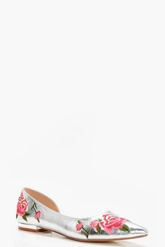 Katie Embroidered Pointed Toe Ballet