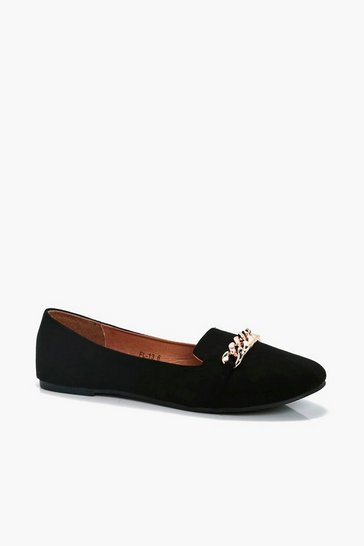 Womens Black Chain Detail Slipper Ballets