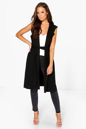 Womens Black Sleeveless Belted Duster