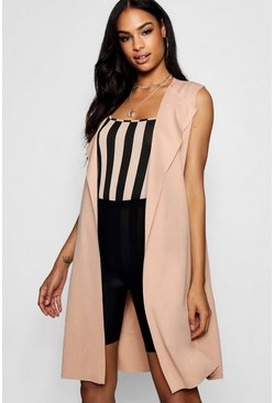 Camel Sleeveless Belted Duster