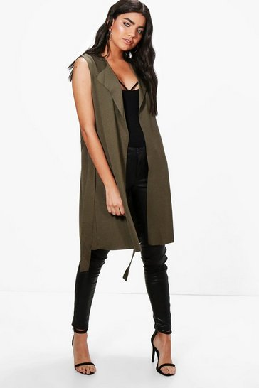 Womens Khaki Sleeveless Belted Duster