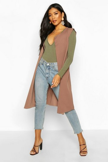 Womens Mocha Sleeveless Belted Duster