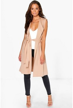 Womens Stone Sleeveless Belted Duster