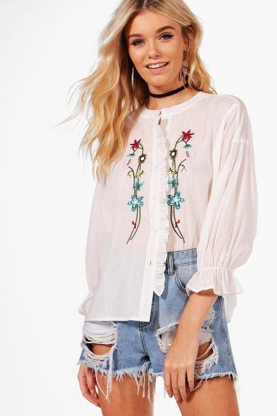 Maisie Embroidered Ruffle Shirt
