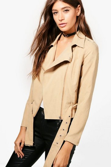 Womens Camel Brushed Belted Suedette Biker