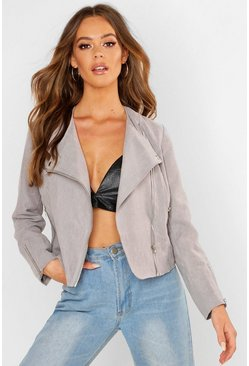 Grey Lightweight Brushed Biker Jacket