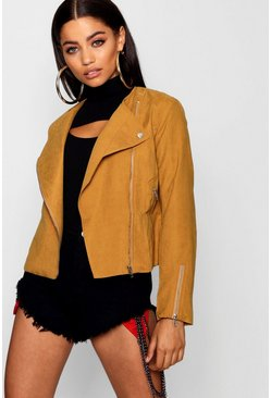 Tan Lightweight Brushed Biker Jacket