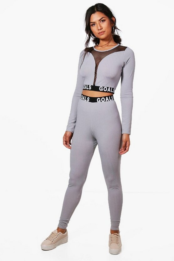 Natasha Goals Trim Mesh Rib Knit Lounge Set