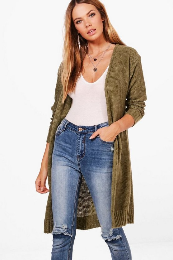 Womens Khaki Lois Soft Knit Midi Cardigan