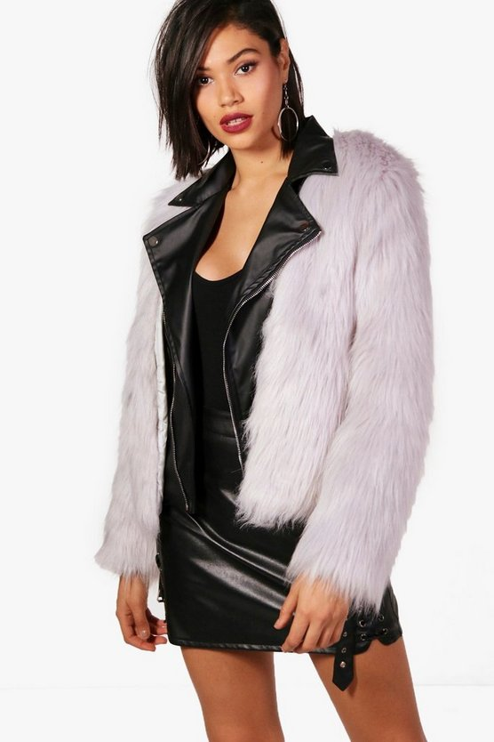 Rachel Boutique Faux Fur & PU Biker Jacket