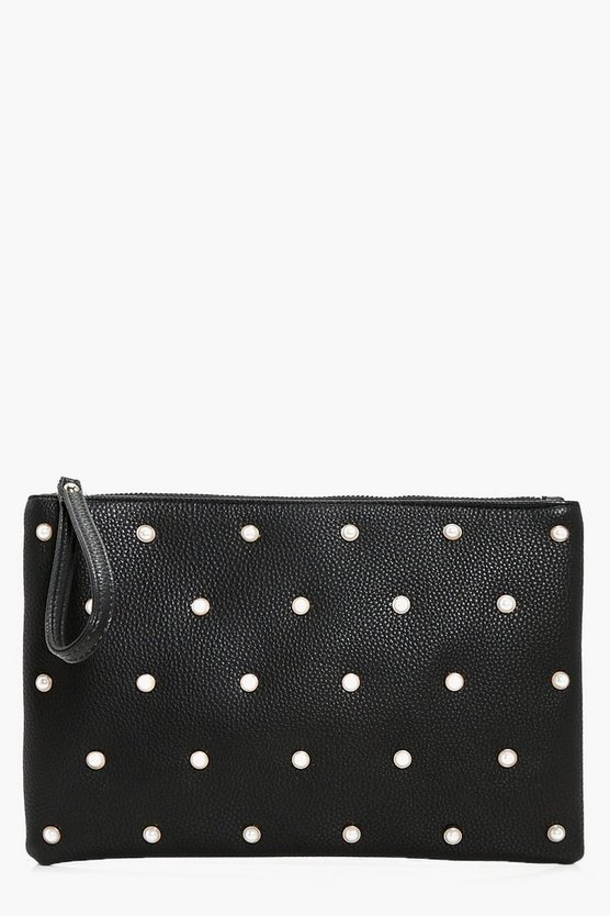 Lily Pearl Stud Zip Top Clutch