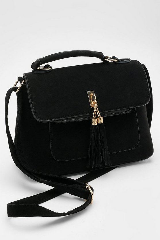 Womens Black Suedette Tassel Cross Body Bag